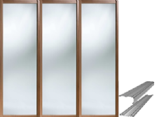 Shaker Style Walnut Frame Mirror Door & Track Set to suit an opening width of 2692mm